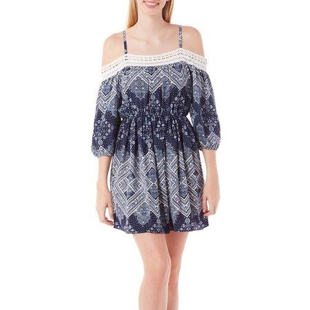 A. Byer Juniors Printed Cold Shoulder Dress