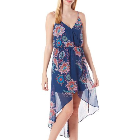 A. Byer Juniors Floral Print Surplice Tulip Dress