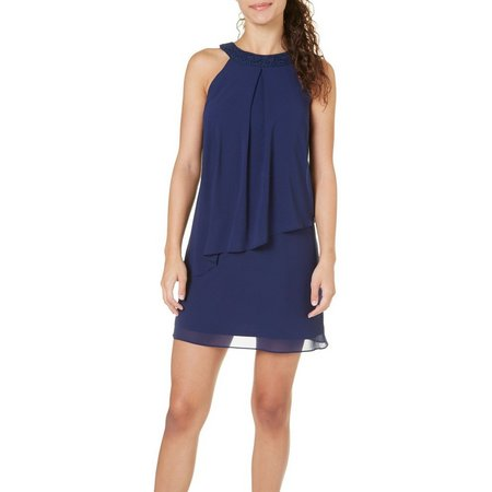 A. Byer Juniors Solid Asymmetrical Popover Dress