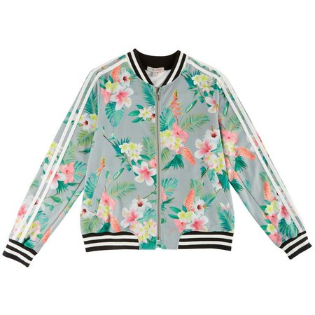Inspired Hearts Juniors Floral Print Bomber Jacket