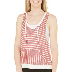 Inspired Hearts Juniors Stripe Hoodie Tank Sweater