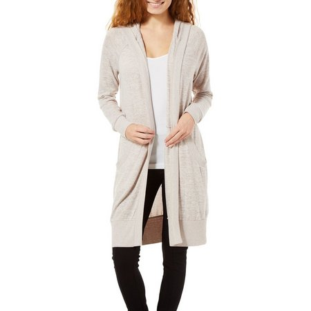 Inspired Hearts Juniors Hacci Open Front Hooded Cardigan