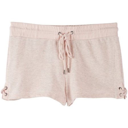 Inspired Hearts Lace-Up Side Solid Heather Shorts