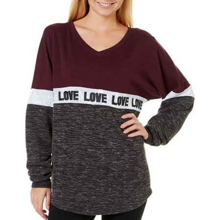 Inspired Hearts Juniors Colorblock Love Sweater