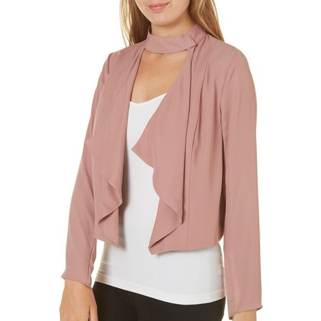 My Michelle Juniors Open Front Ruffle Soft Jacket
