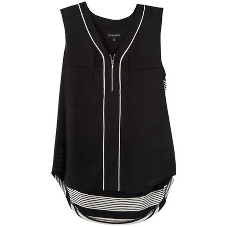 My Michelle Juniors Front Zip Stripe Back Tank