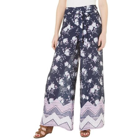 My Michelle Juniors Floral Print Wide Leg Pants