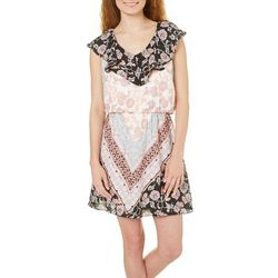 New! My Michelle Juniors Floral Ruffled V-Neck Dress