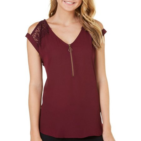 My Michelle Juniors Zip Front Cold Shoulder Top