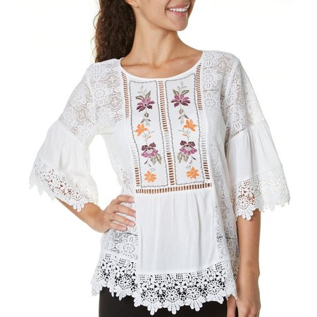 My Michelle Juniors Embroidered Lace Top