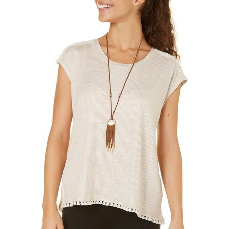 My Michelle Juniors Necklace & Ribbed Top