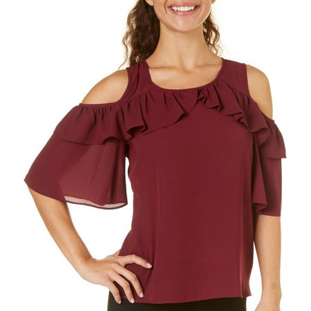 My Michelle Juniors Ruffle Cold Shoulder Top