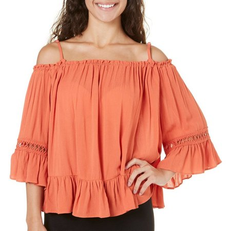 My Michelle Juniors Cold Shoulder Bell Sleeve Top