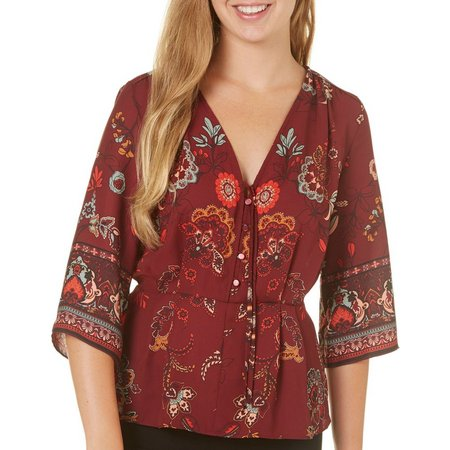 My Michelle Juniors Floral Print Woven V-Neck Top