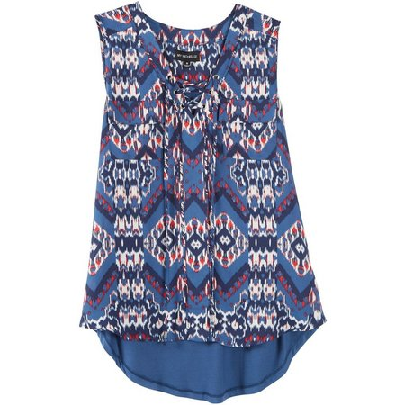 My Michelle Juniors Ikat Printed Lace-Up Tank Top