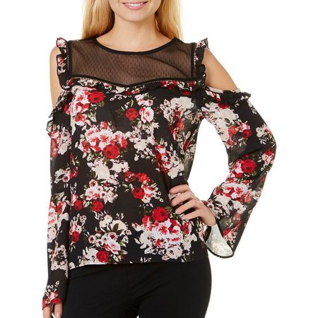 My Michelle Juniors Floral Print Cold Shoulder Top
