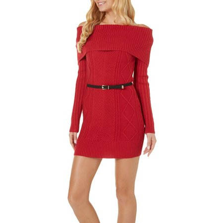 My Michelle Juniors Belted Sweater Dress