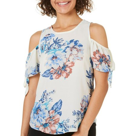 Moa Moa Juniors Floral Cold Shoulder Tie Sleeve