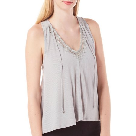 Poof Juniors Tie Front Lace Trim Tank Top