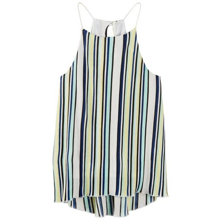 Derek Heart Juniors High Neck Pleat Tank Top