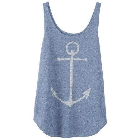 Hybrid Juniors Anchor Screen Print Tank Top