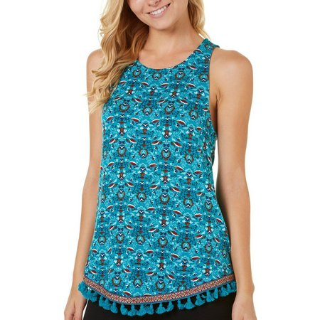 Eyeshadow Juniors Whimsical Print Tassle Hem Tank Top