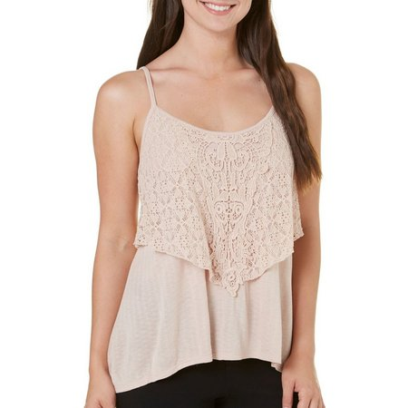 Eyeshadow Juniors Popover Lace Tank Top