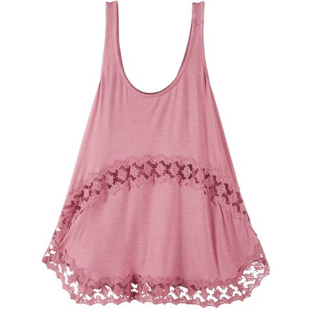 Eyeshadow Juniors Crochet Inset Tank Top