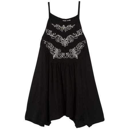 Eyeshadow Juniors Embroidered Crochet Tank Top