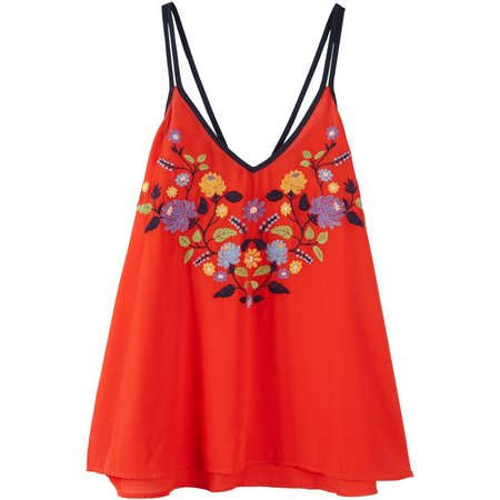 Eyeshadow Juniors Floral Embroidered Tank Top