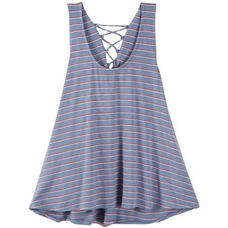 Eyeshadow Juniors Stripe Lace Up Tank Top