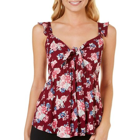 Almost Famous Juniors Babydoll Ruffle Floral Top