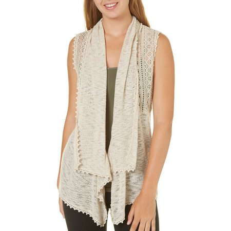 Almost Famous Juniors Draped Lace Vest