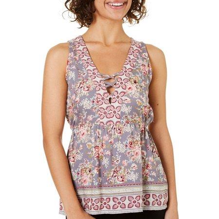 Angie Juniors Floral Print Crisscross V-Neck Tank Top