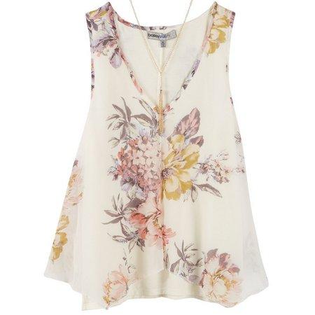 Bailey Blue Juniors Necklace & Floral Tank Top