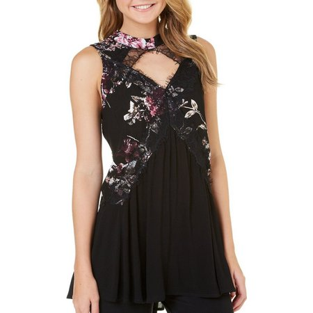 Be Bop Juniors Floral High Neck Lace Trim