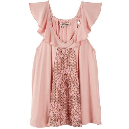 Be Bop Juniors Floral Lace Panel Ruffled Tank