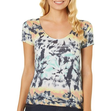 Poof Juniors Tie Dye Lace-Up Back Top