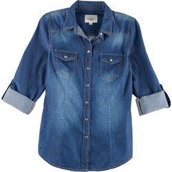 YMI Juniors Denim Roll Sleeve Button Up Shirt