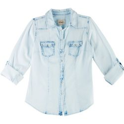 YMI Juniors Chambray Bleached Out Button Up Shirt