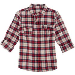YMI Juniors Plaid Button Down Roll Sleeve Shirt