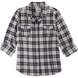 YMI Juniors Plaid Print Snap Button Shirt