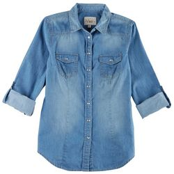 YMI Juniors Chambray Button Down Shirt
