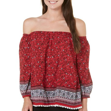 Love By Design Juniors Floral Off Shoulder Top