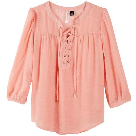 Love By Design Juniors Gauze Lace-Up Top