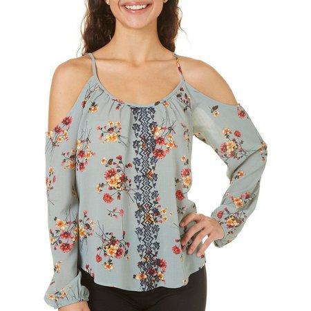 Rewind Juniors Embroidered Floral Cold Shoulder Top