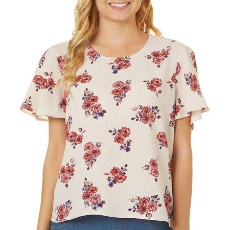 Rewind Juniors Floral Print Flutter Sleeve Top