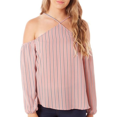 Ultra Flirt Juniors X Neck Cold Shoulder Top