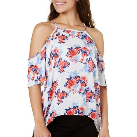 Derek Heart Juniors Floral Print Cold Shoulder Top