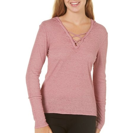 Derek Heart Juniors Criss Cross Front Hoodie Top